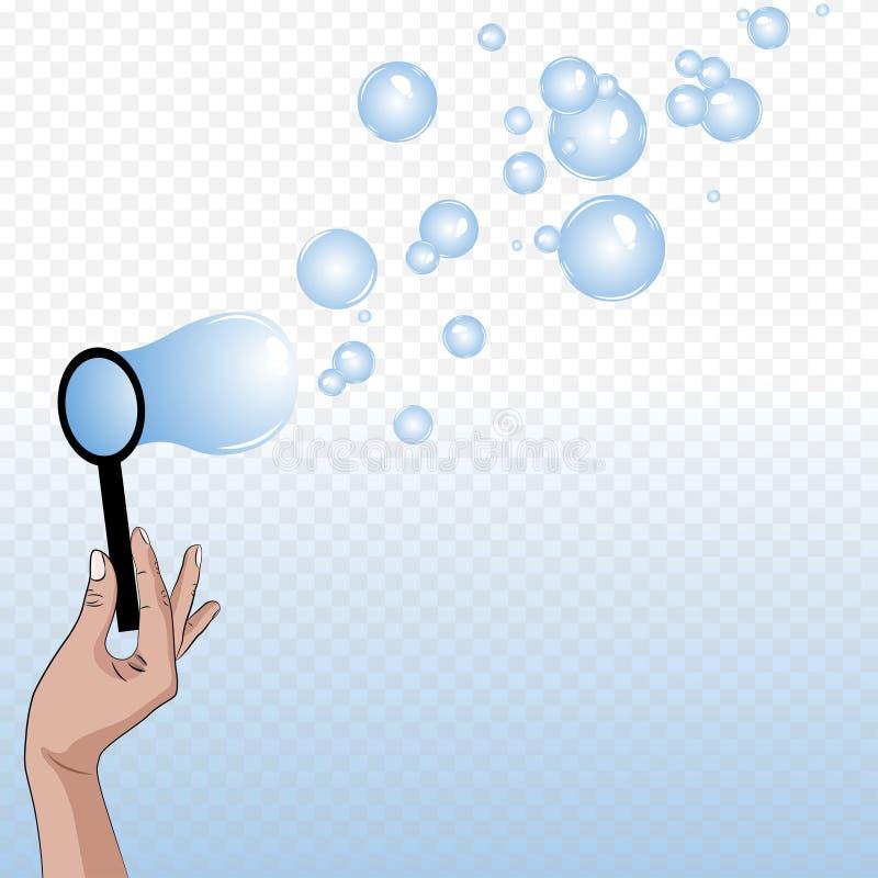 Sopro das bolhas de sabão ilustração stock