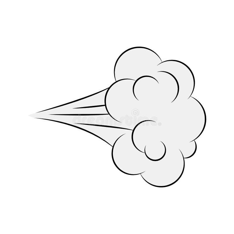 Sopro dos desenhos animados, fumo cômico isolado no fundo branco ilustração royalty free