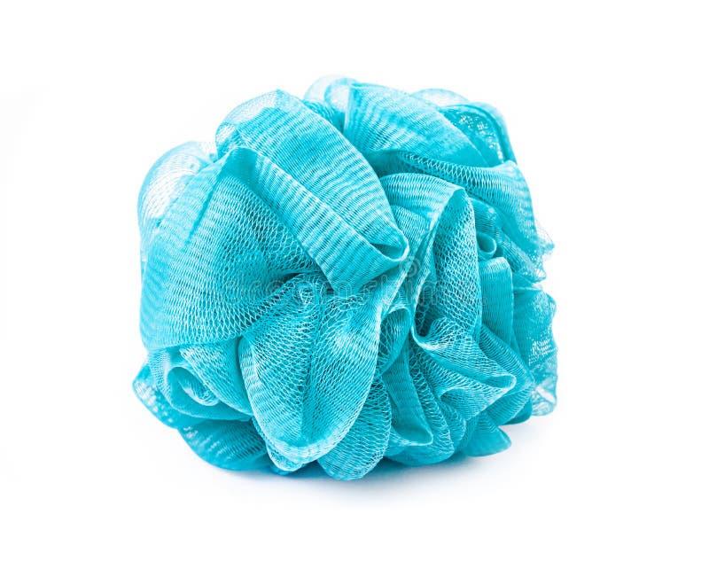 Sopro ou esponja azul macia do banho fotografia de stock