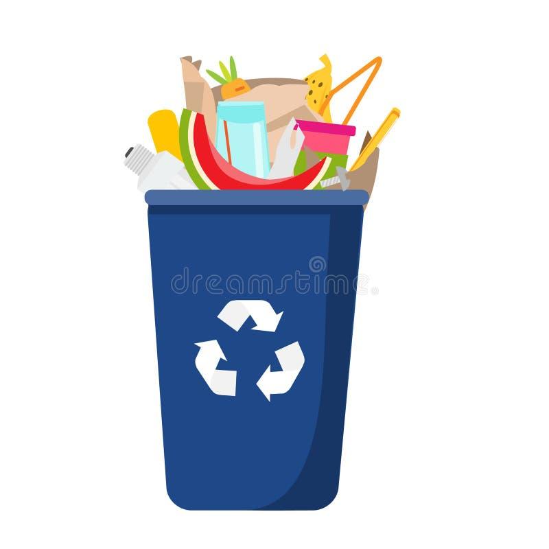 Soptunna med avfall inom Kunna och plast-, exponeringsglas, organisk avfalls stock illustrationer