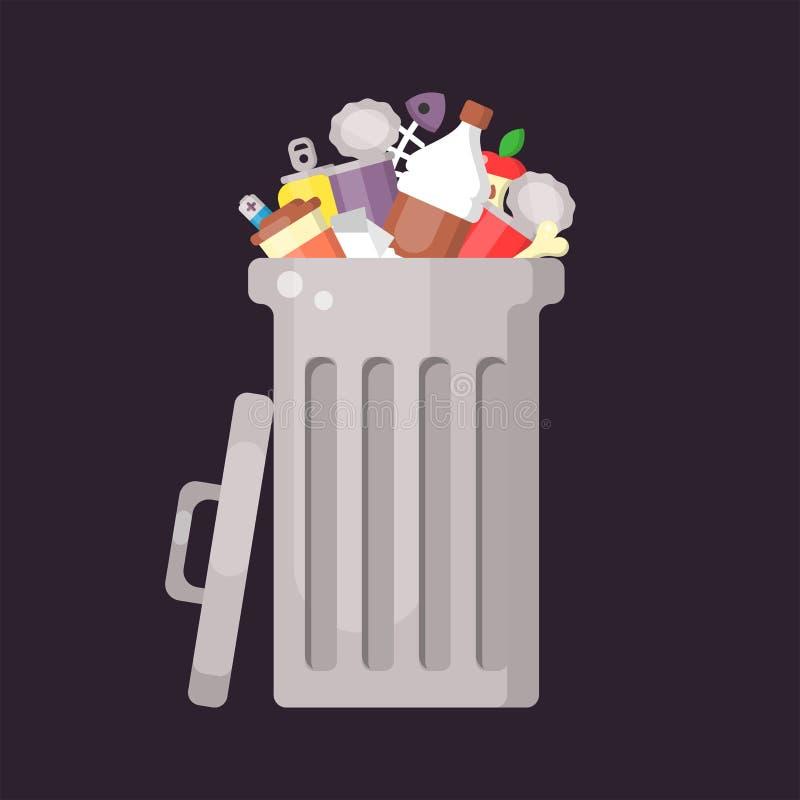 Soptunna med blandad avfalls stock illustrationer