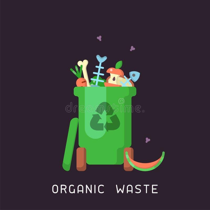 Soptunna med organisk avfalls royaltyfri illustrationer