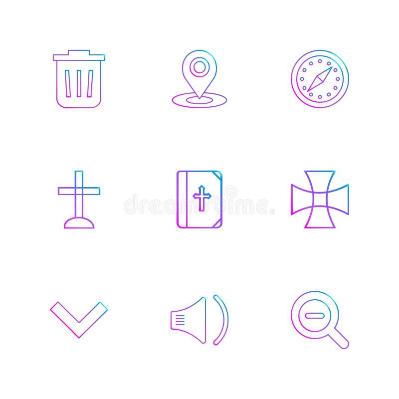 soptunna navigering, kompass, kyrka, bibel, kors som är bra vektor illustrationer
