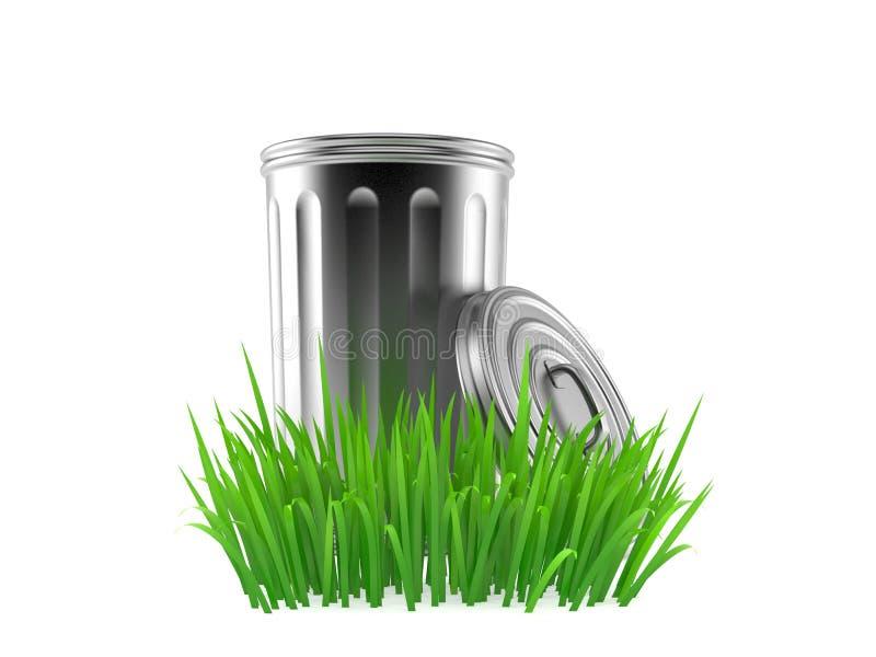 Soptunna på gräs royaltyfri illustrationer