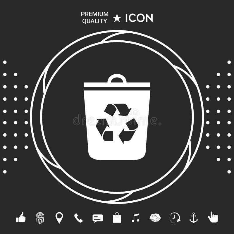 Soptunnan återanvänder facksymbolen Grafiska beståndsdelar för din designt stock illustrationer
