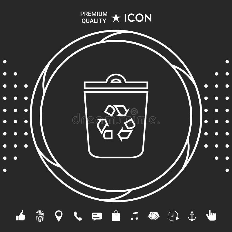 Soptunnan återanvänder facksymbolsymbolen Grafiska beståndsdelar för din designt royaltyfri illustrationer