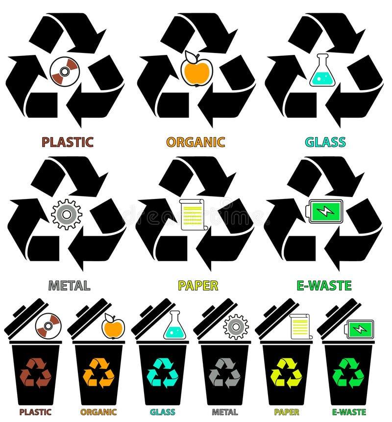 Soptunnasymboler med olika färgtyper av avskräde: Organiskt plast-, metall, papper, exponeringsglas, E-avfalls vektor illustrationer