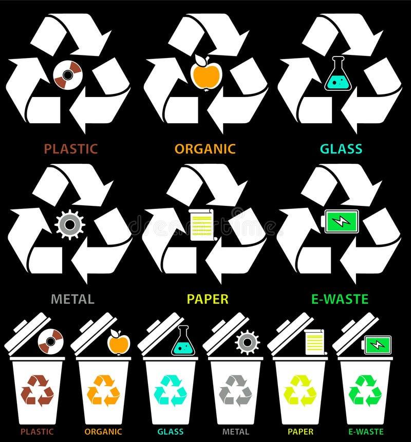 Soptunnasymboler med olika färgtyper av avskräde: Organiskt plast-, metall, papper, exponeringsglas, E-avfalls i plan stil som is vektor illustrationer