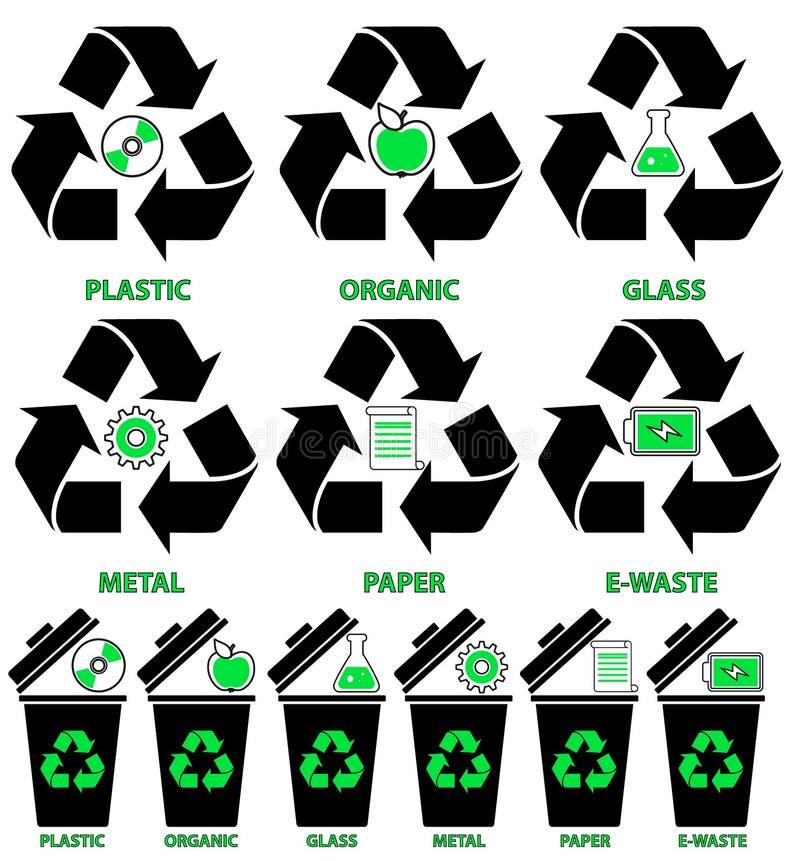 Soptunnasymboler med olika typer av avskräde: Organiskt plast-, metall, papper, exponeringsglas, E-avfalls i plan stil vektor illustrationer