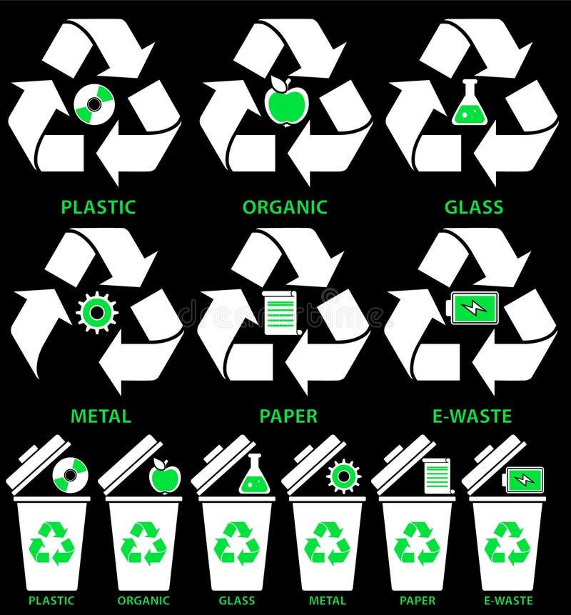 Soptunnasymboler med olika typer av avskräde: Organiskt plast-, metall, papper, exponeringsglas, E-avfalls i plan stil royaltyfri illustrationer