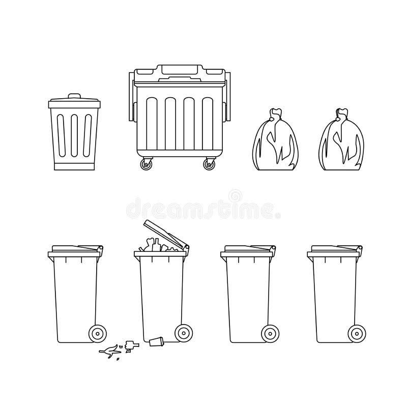Soptunnor och dumpsters royaltyfri illustrationer