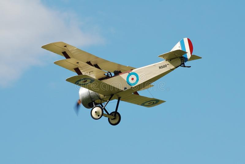 Sopwith triplane. N500 of the Great War Display Team performs at the Dunsfold airshow in Surrey, England on August 23, 2014. The 1997 built aircraft is a stock photography