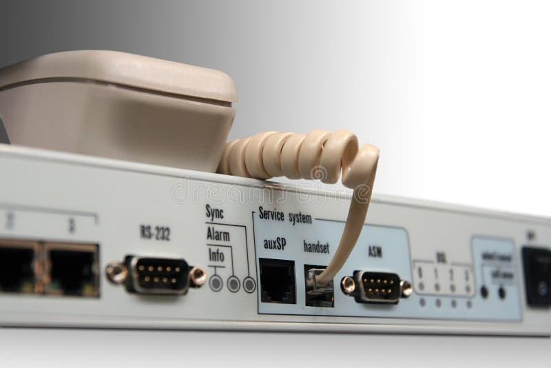Soquete do telefone no dispositivo da rede. imagens de stock