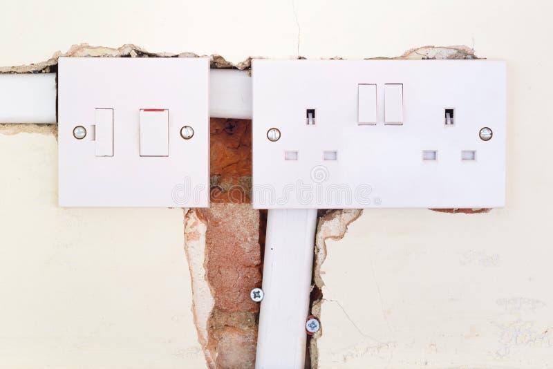 Soquete doméstico britânico Rewiring fotografia de stock