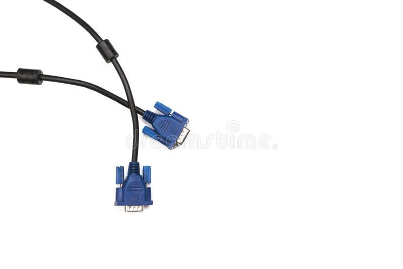 Soquete preto do cabo distribuidor de corrente de VGA isolado no fundo branco imagens de stock