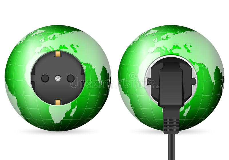 Soquete verde da tomada do globo do mundo ilustração stock