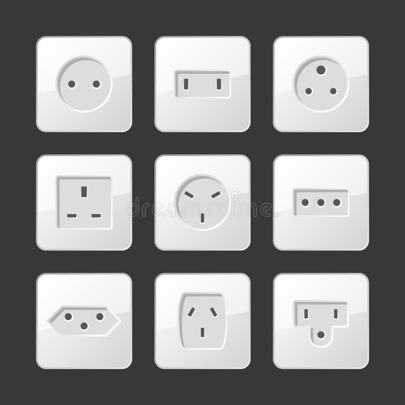 Soquetes brancos da tomada elétrica ajustados Vetor ilustração royalty free