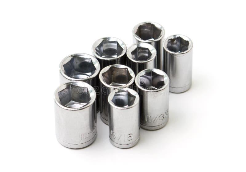 Soquetes da chave do metal fotografia de stock