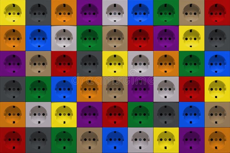 Soquetes de poder coloridos fotos de stock