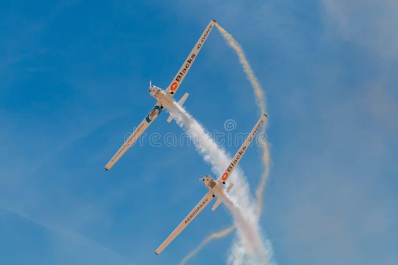 SOR VAN PONTE DE, PORTUGAL - 3 JUNHO, 2019: het aerobatic team voert kunstvliegen uit DE LUCHTtop VAN PORTUGAL royalty-vrije stock fotografie