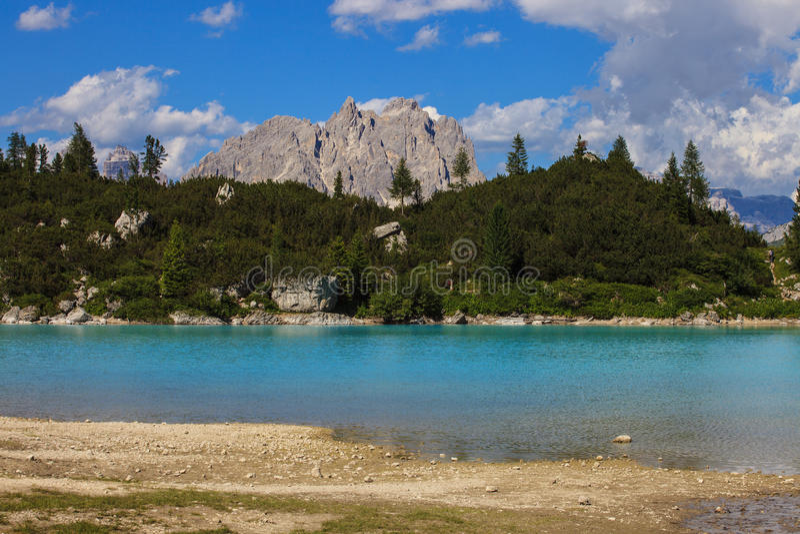 Sorapis湖在意大利 库存照片