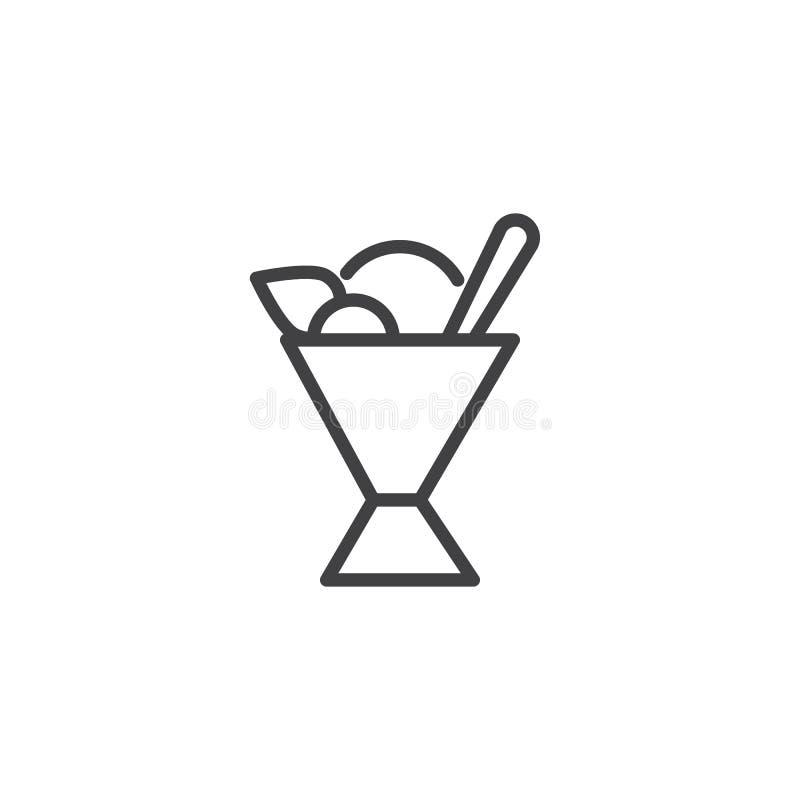 Sorbet εικονίδιο περιλήψεων φλυτζανιών απεικόνιση αποθεμάτων