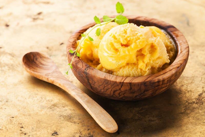 Sorbetto del gelato del mango immagini stock libere da diritti