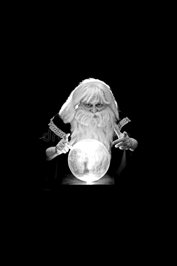 Sorcerer in black and white royalty free stock image