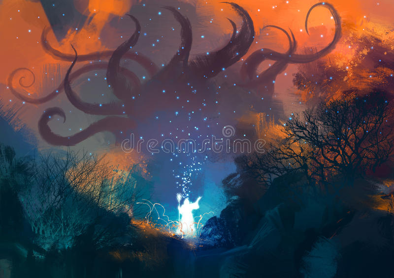Sorcerer casts a spell with his wand vector illustration
