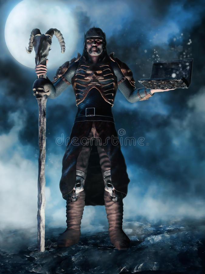 Free Sorcerer With A Skull And A Book Royalty Free Stock Images - 45150509