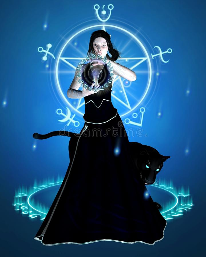 Download The Sorceress And Black Panther - Concentration Stock Illustration - Illustration of casting, female: 10657390