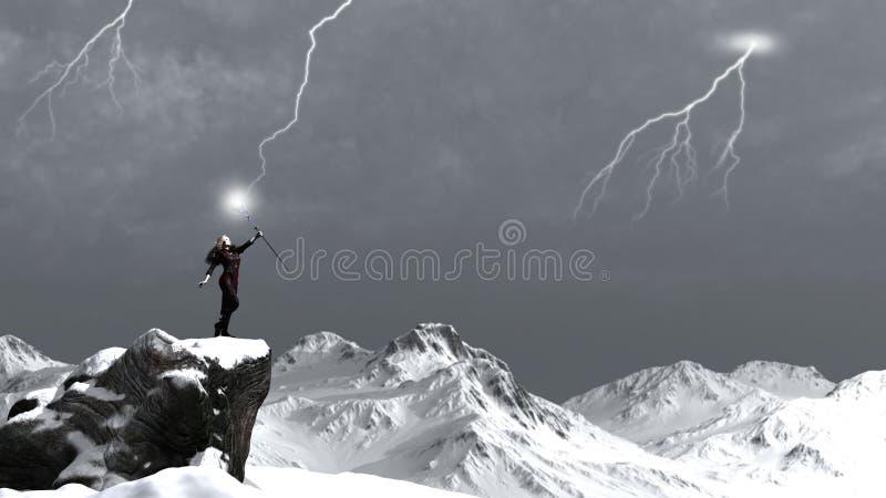 Sorceress Calling the Lightning royalty free illustration