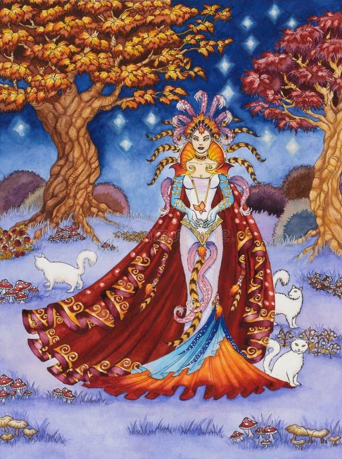 Sorceress di Elven con tre gatti bianchi illustrazione vettoriale