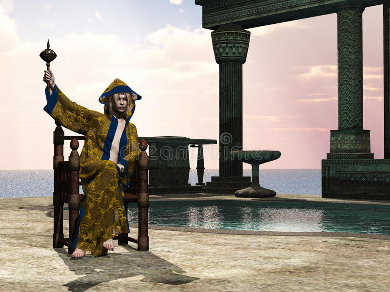 Sorceress in fantasy setting. Rendered sorceress on throne with ancient buildings and pool royalty free illustration