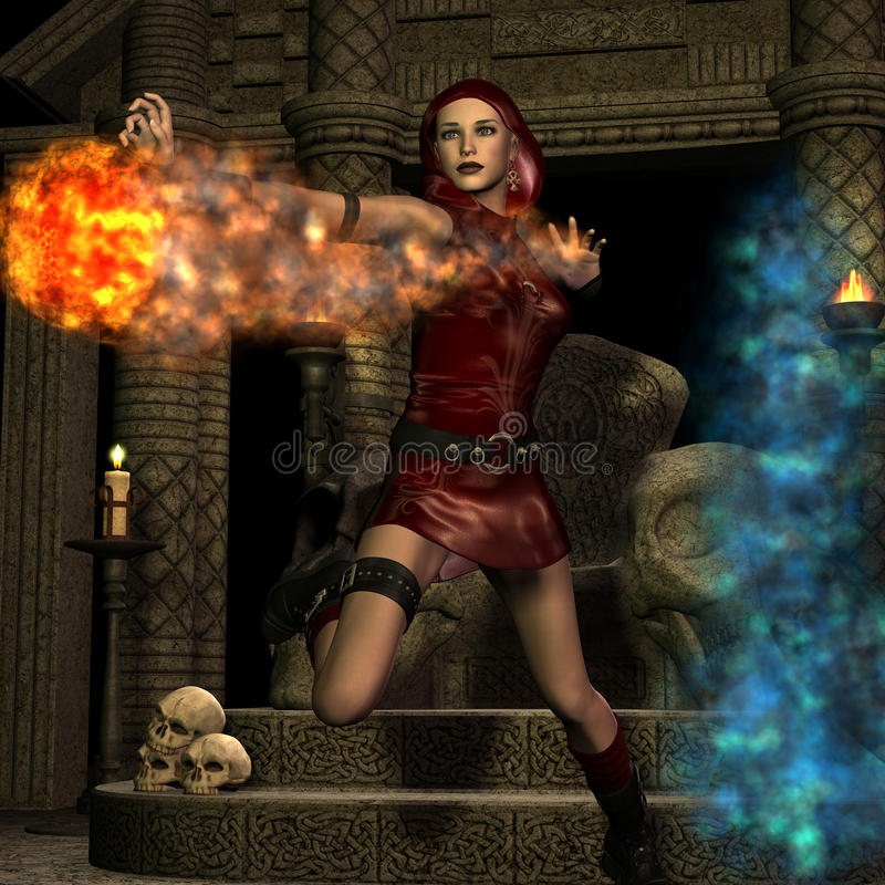Sorceress with fireball stock illustration