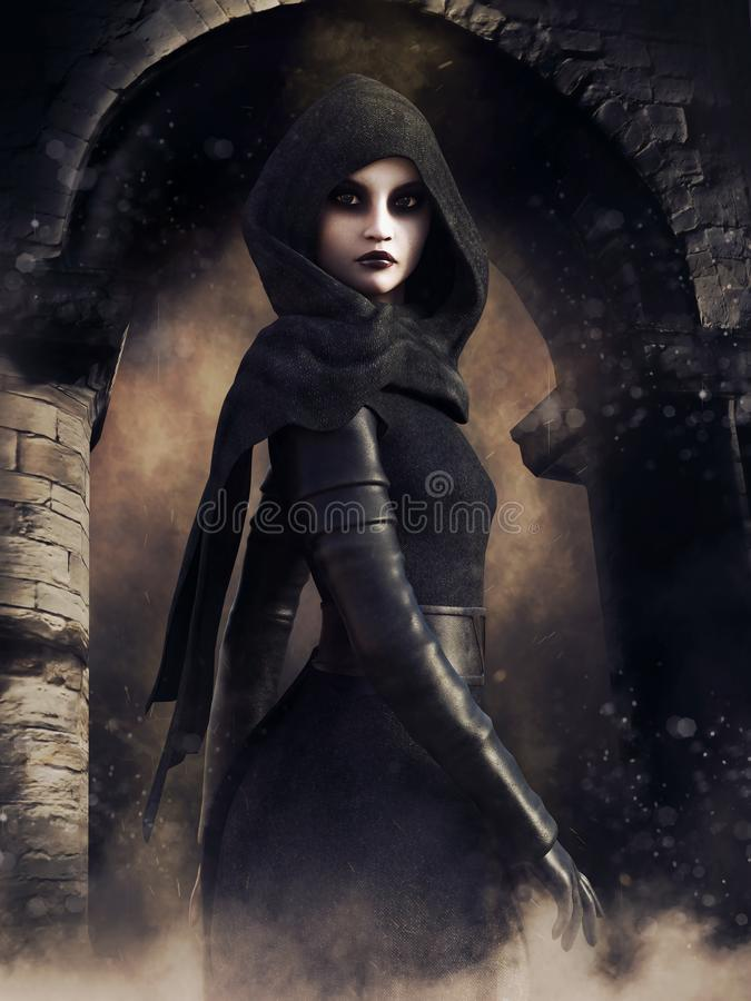 Sorceress in front of a gothic gate. Night scene with a sorceress in a hooded robe standing in front of a gothic gate vector illustration