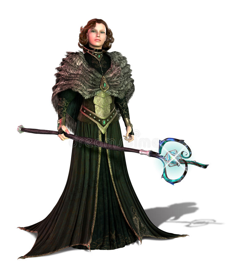 Sorceress with a magic staff vector illustration