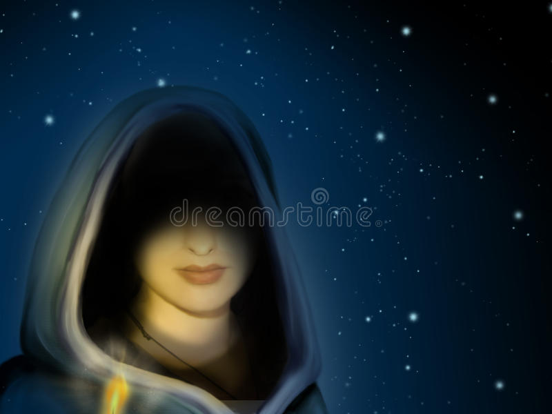 Sorceress in the night stock illustration