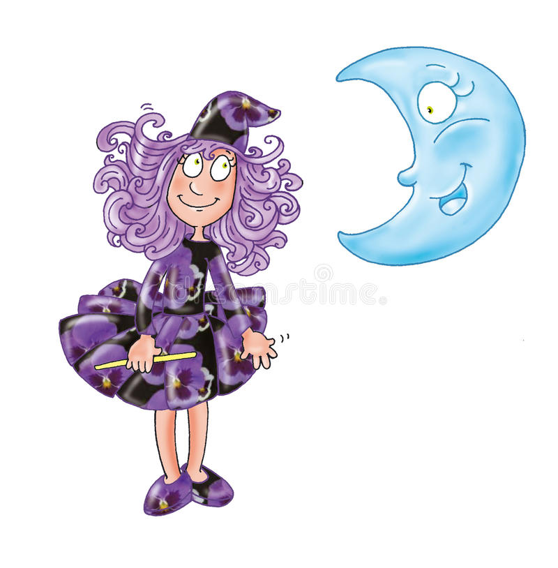 The sorceress violet with a magic wand and the moon funny comic stock illustration