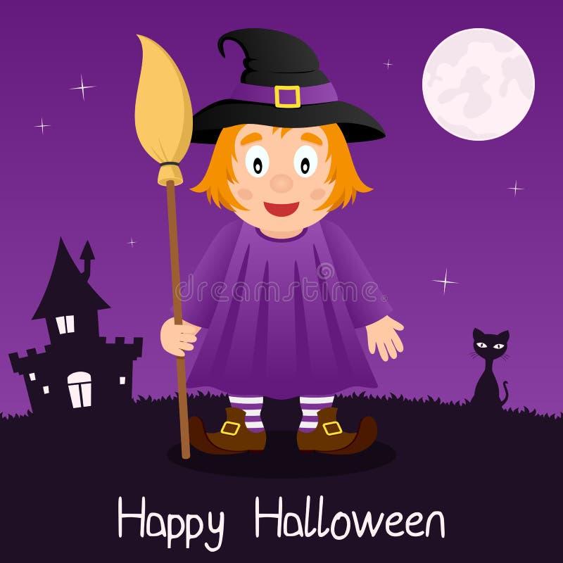 Sorcière avec la carte heureuse de Halloween de balai illustration de vecteur
