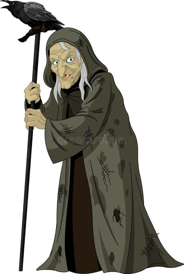 Sorcière avec le corbeau illustration de vecteur