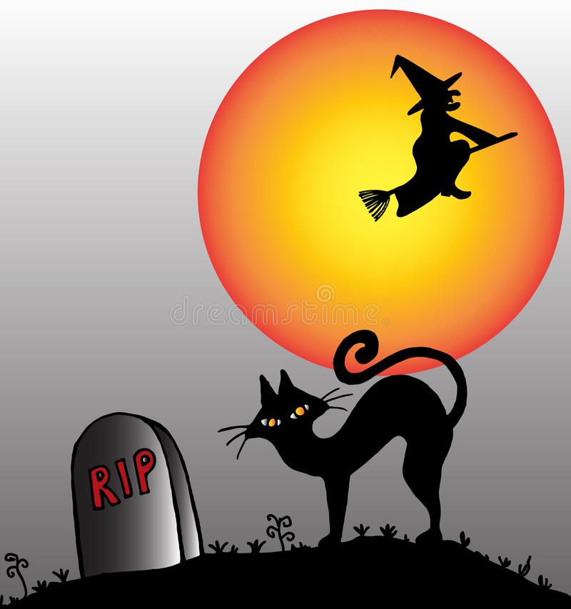Sorcière d'équitation de balai et un chat dans un cimetière une nuit de Halloween illustration stock