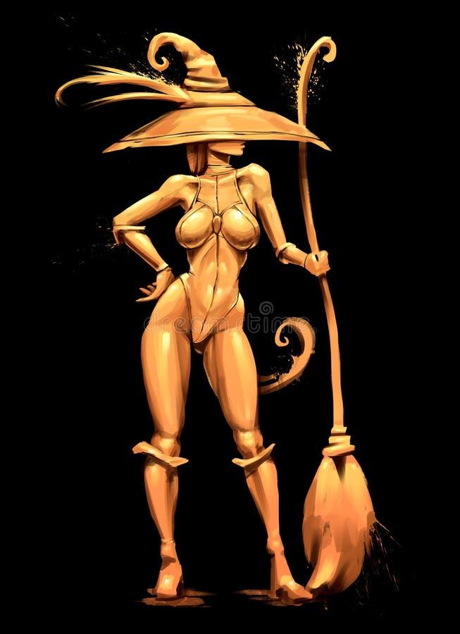 Sorcière d'or sexy dans le chapeau illustration libre de droits