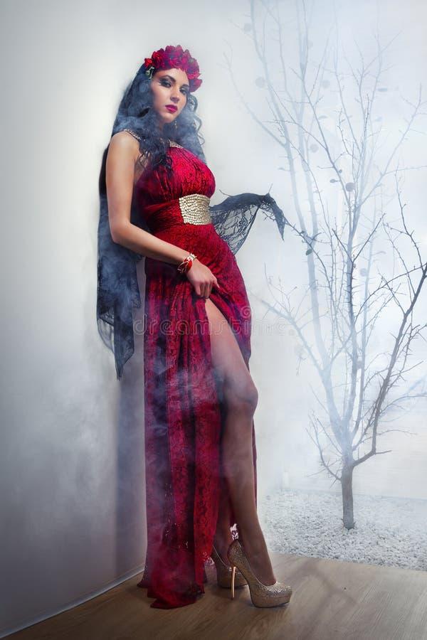 Sorcière dans la robe rouge photos libres de droits