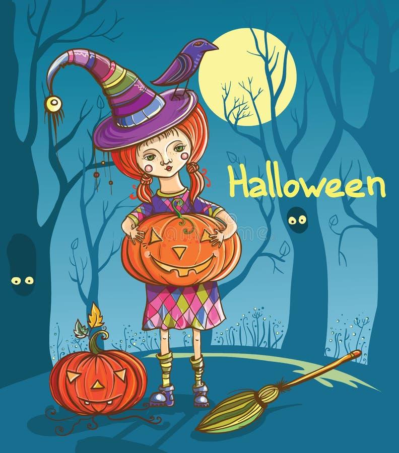 Download Sorcière De Fille De Halloween Illustration de Vecteur - Illustration du fille, forêt: 45353484