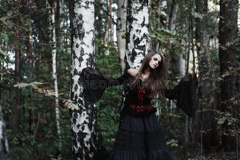 Download Sorcière De Halloween Dans Une Belle Jeune Femme De Forêt Foncée Dans Le Costume De Sorcières Conception D'art De Halloween Fond Photo stock - Image du concept, beauté: 77155862