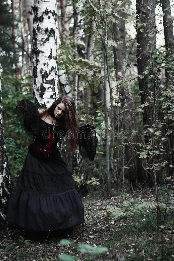 Download Sorcière De Halloween Dans Une Belle Jeune Femme De Forêt Foncée Dans Le Costume De Sorcières Conception D'art De Halloween Fond Photo stock - Image du mains, plot: 77157102