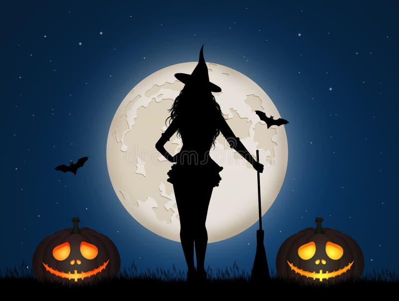 Sorcière de Halloween pendant la nuit illustration de vecteur