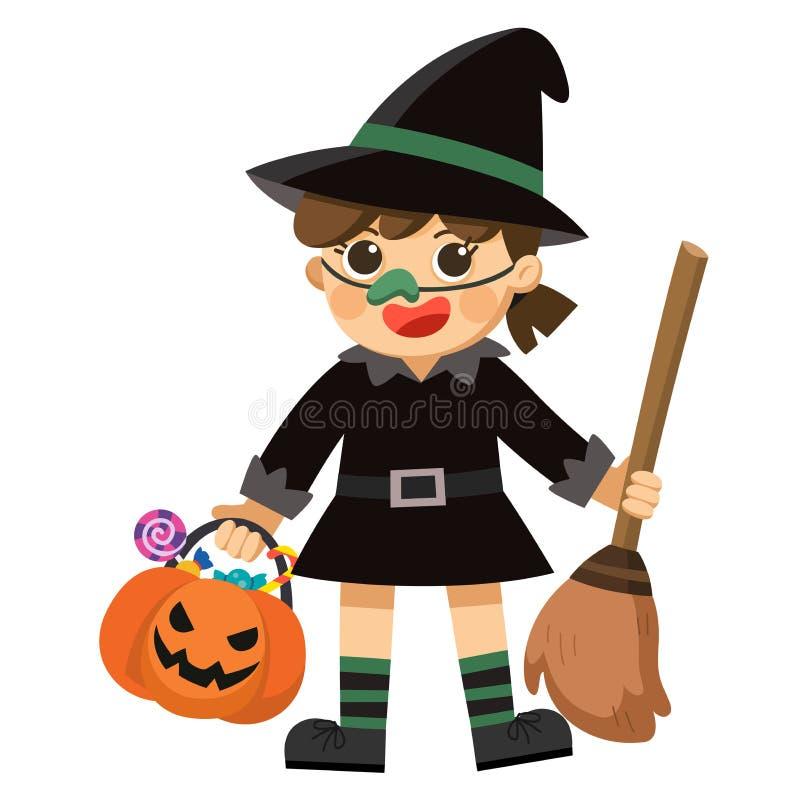 Sorcière de Veille de la toussaint Petite sorcière mignonne avec le panier de potiron illustration stock