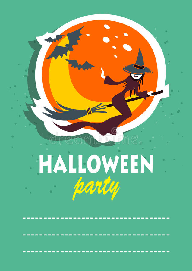 Sorcière de vol de Halloween illustration stock